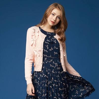OUWEY歐薇 甜美花卉蕾絲針織外套(粉)