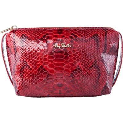 TONY PEROTTI 義大利蟒蛇紋牛皮 化妝包 #2397 ( 紅色 )