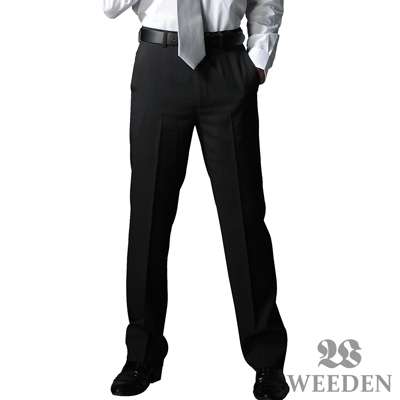WEEDEN-經典紳仕素色修身平面西褲-淳雅黑