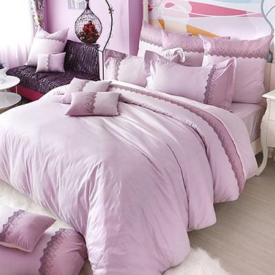 義大利La Belle 凡爾賽玫瑰 雙人長絨細棉蕾絲四件式防蹣抗菌舖棉兩用被床包組