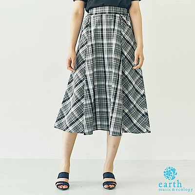 earth music 格紋配色膝下長裙