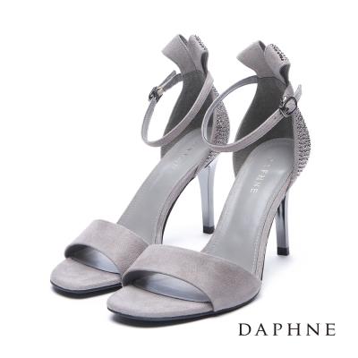 達芙妮DAPHNE 涼鞋~立體緞帶 水鑽魚口高跟涼鞋~灰