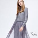 假兩件式針織網紗拼接洋裝 共二色 TATA