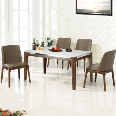 品家居 菲絲4.7尺石面餐桌椅組合(一桌四椅)-140x80x74cm-免組