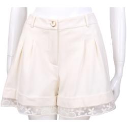 CLASS roberto cavalli 白色蕾絲拼接設計短褲