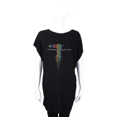 TRUSSARDI 黑色多彩貼飾LOGO設計長版上衣