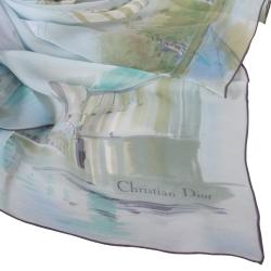 Christian Dior 熱氣球世界之旅大領巾-淺藍色
