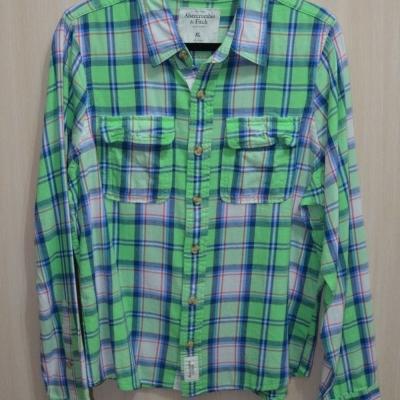 AF a&f Abercrombie & Fitch 長袖 襯衫 綠色 0143