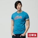 EDWIN T恤 仿古十字繡LOGOT恤-男-藍色