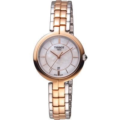 TISSOT Flamingo 甜美氣息時尚腕錶-雙色/30mm