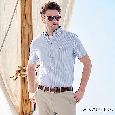 Nautica經典細直條紋短袖襯衫 -天空藍