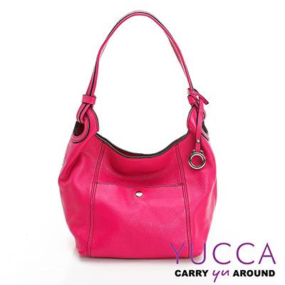 YUCCA-多彩甜美牛皮立體肩背桶包 - 桃紅色- 1118A012009