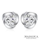 Majalica純銀耳環閃爍光芒 擬真鑽0.5克拉 925純銀