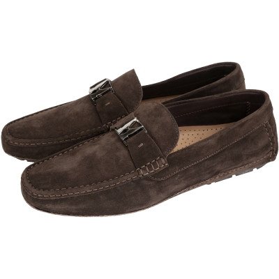 MORESCHI 金屬LOGO麂皮樂褔鞋(深咖啡色)