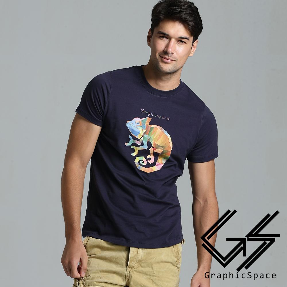 彩色塊變色龍圖案磨毛水洗T恤(共二色)-GraphicSpace