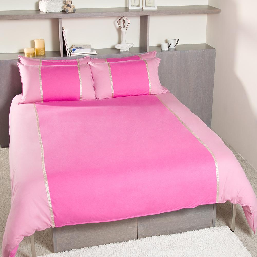 Yvonne Collection天絲綿拼接加大三件式被套組-粉紫