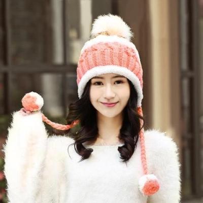 幸福揚邑 雙吊球造型雙層保暖護耳小顏拚色毛球針織毛線帽-橙