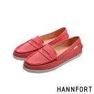 HANNFORT CALIFORNIA帆布氣墊樂福鞋-女-日光紅
