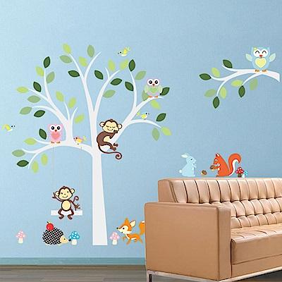 大尺寸高級創意壁貼 / 牆貼  花草系列-動物在樹