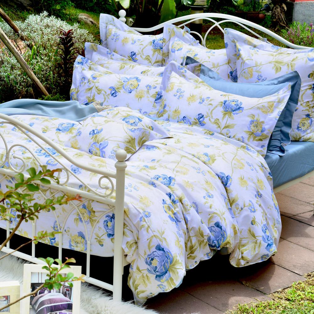義大利La Belle 傾城花畔 雙人四件式防蹣抗菌舖棉兩用被床包組