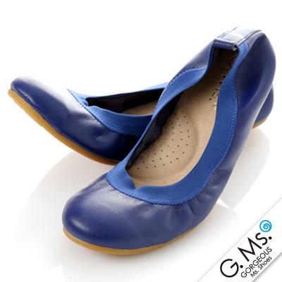 【G.Ms.】旅行女孩II‧素面鬆緊口全真皮可攜式軟Q娃娃鞋(附專屬鞋袋) ‧寶藍