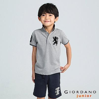GIORDANO  童裝勝利獅王3D刺繡短袖POLO衫-23 雪花中灰