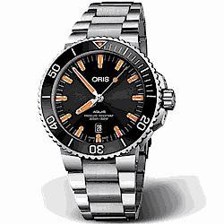 ORIS 豪利時 Aquis 時間之海潛水機械腕錶-黑x橘43.5mm
