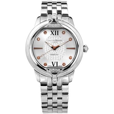 CHRISTIAN BERNARD 伯納錶 白剛玉真鑽瑞士製造不鏽鋼手錶-銀色/36mm