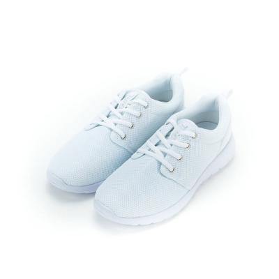 TOP GIRL-後亮皮透氣網布慢跑鞋-白