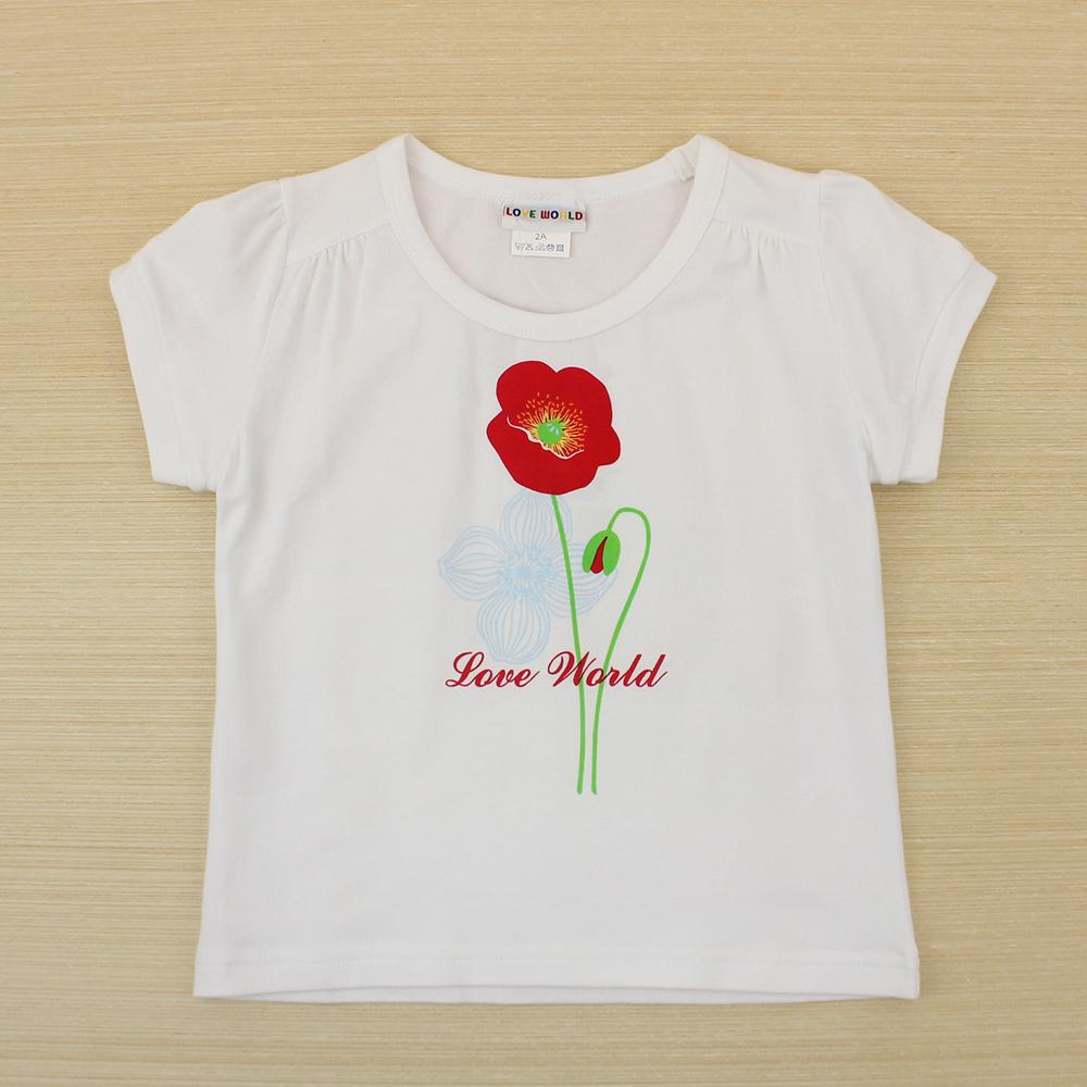愛的世界 彈性圓領罌粟花短袖上衣-白/3~4歲