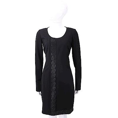 VERSACE 幾何圖貼飾圖騰黑色絲質修身洋裝