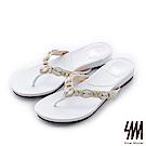 SM-晶鑽系列-寶石水鑽項鍊人字夾腳平底楔型拖鞋-白色