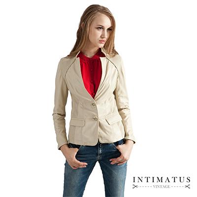 【真皮皮衣】立領西裝款小羊皮皮衣-米白色INTIMATUS
