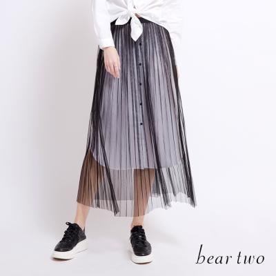 beartwo 雙層微透網紗百褶長裙(黑色)-動態show