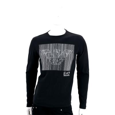 EMPORIO ARMANI 黑色條碼老鷹圖案長袖T恤