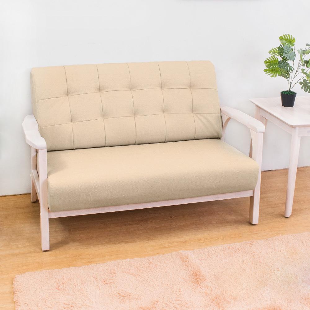 Boden-森克實木貓抓皮沙發雙人椅/二人座(洗白色)(四色可選) product image 1