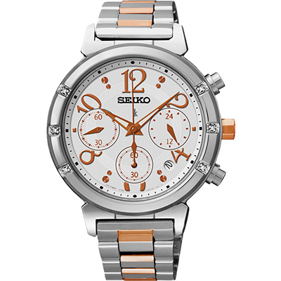 SEIKO LUKIA 太陽能甜美晶鑽三眼計時碼錶(SSC873J1)-銀x雙色版/35mm