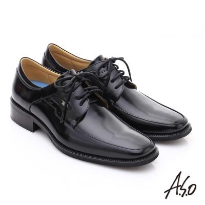 A.S.O 菁英通勤 雅痞鏡面牛皮綁帶皮鞋 黑色