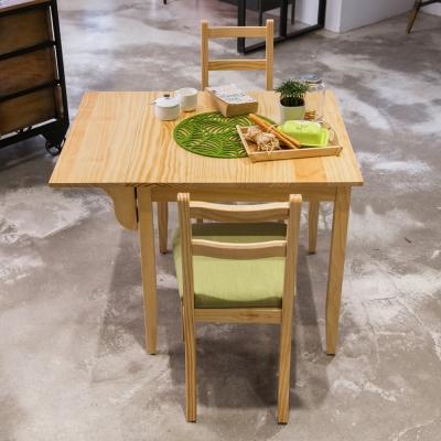 CiS自然行實木家具- 北歐單邊延伸實木餐桌椅組一桌二椅 74*98公分/原木+抹茶綠椅墊