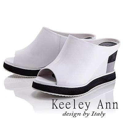 Keeley Ann 都會美感~後鏤空雙色拼接楔形魚口拖鞋(白色-Asin系列)