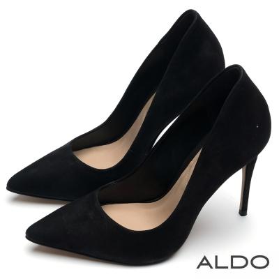 ALDO 性感LADY原色真皮尖頭細高跟鞋~尊爵黑色