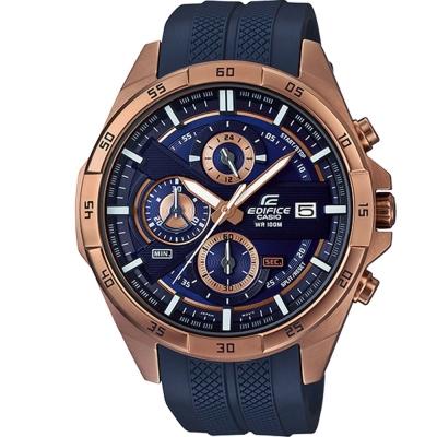 EDIFICE簡約新時尚壓紋設計的賽車錶(EFR- 556 PC- 2 )深藍X金框 48 . 7 mm