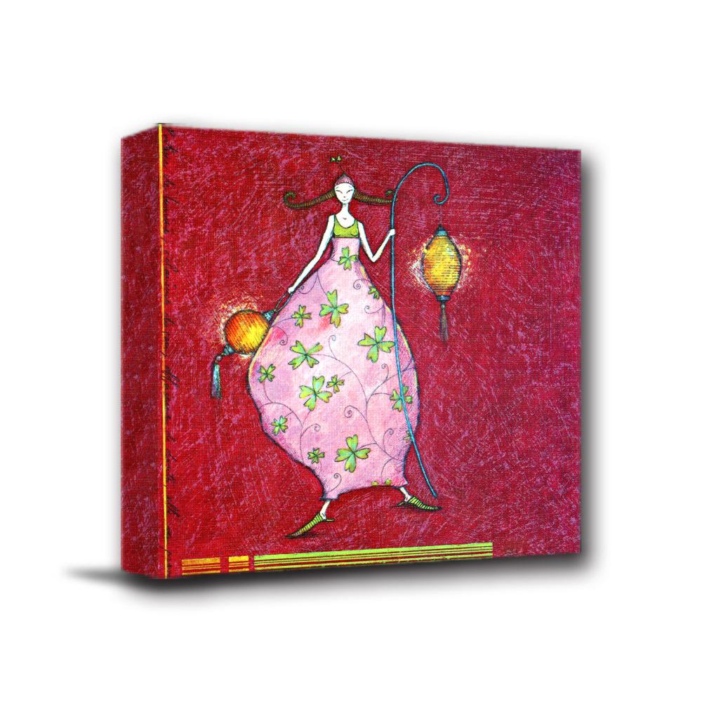 美學365 - 單聯式無框藝術掛畫時鐘 - 花燈女孩40x40cm