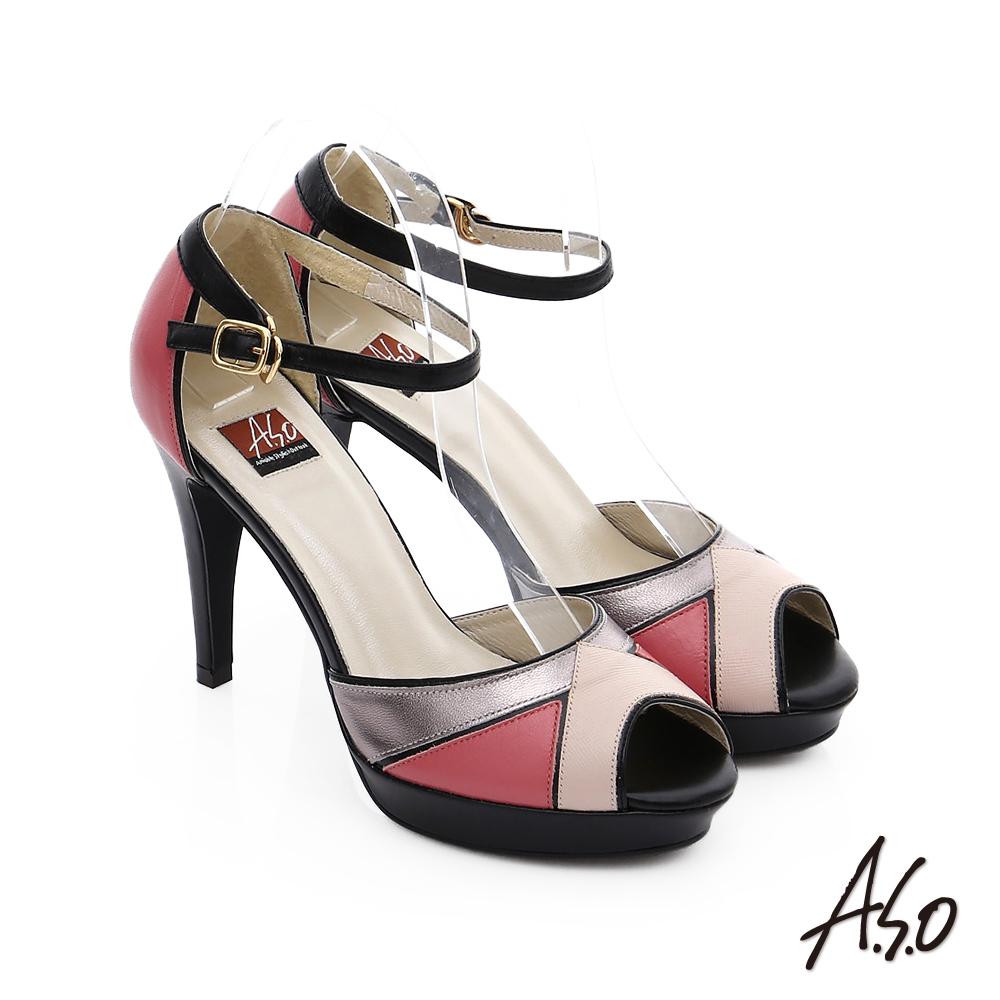 A.S.O 修身美型 羊皮配色拼接魚口涼鞋 粉紅色