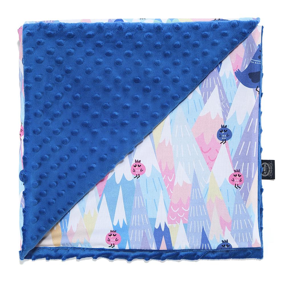 嬰兒毯寶寶毯-La Millou 單面巧柔豆豆毯(加大款)-莓果咕咕雞(加勒比海藍)