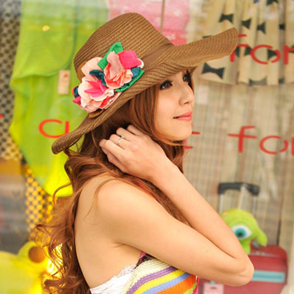 【Aimee Toff】京彩和風漾花遮陽帽(咖)