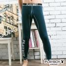 PLAYBOY運動型男流線設計蓄熱保暖內搭褲-丈青底灰線