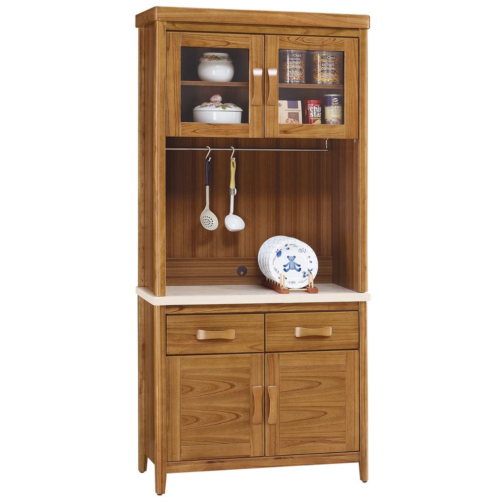 愛比家具 絲莉愛3尺柚木實木石面餐櫃組(上+下座)