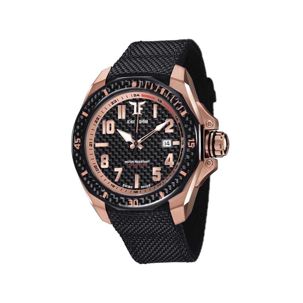 TF Est. 1968 Rose automatic 碳纖維機械錶-黑x玫瑰金/44mm