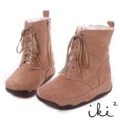 iki2機能雪靴-真麂皮鞋帶拉鍊厚底雪靴-甜美粉